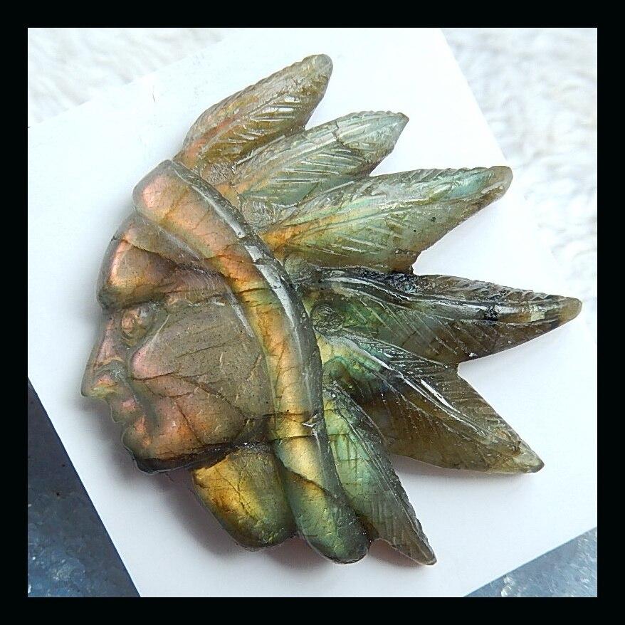 Pierres semi-précieuses sculptées indien Labradorite Cabochon 50x48x9mm 26.1g pierre naturelle sculptée indien Cabochon labradorite perles