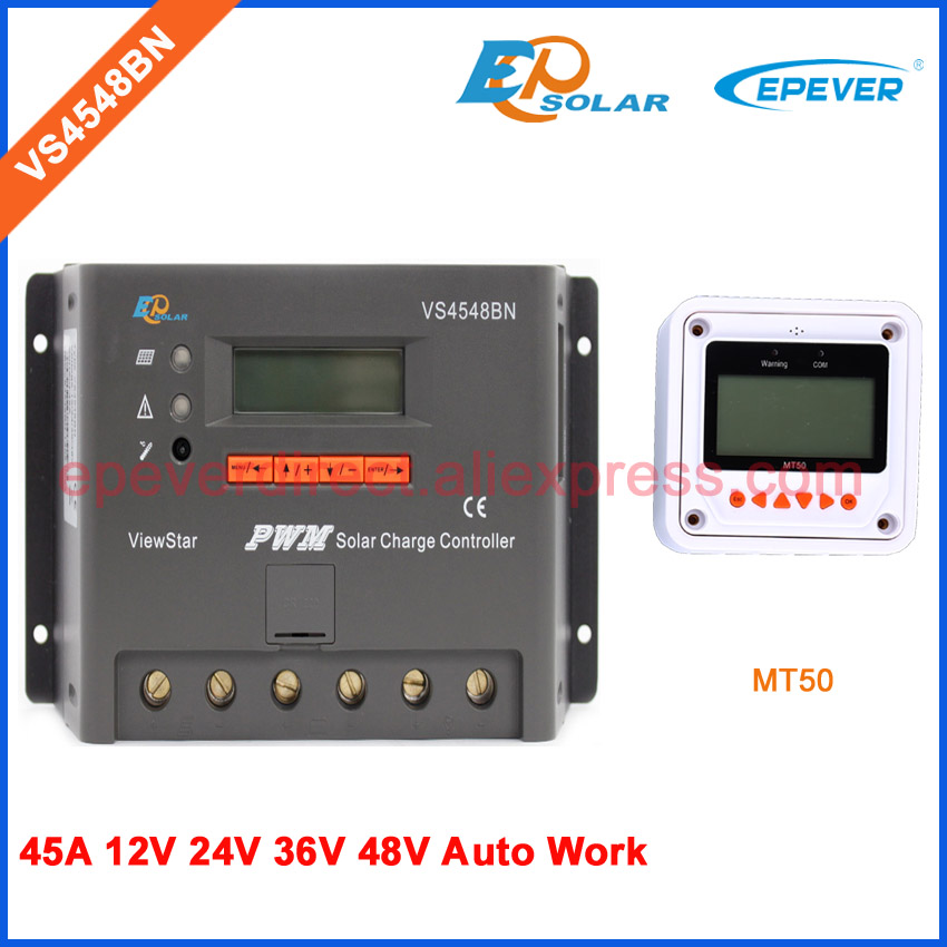 Solar power controller battery charger VS4548BN 45A LCD display low price MT50 remote Meter 48V/36V charging auto switch workSolar power controller battery charger VS4548BN 45A LCD display low price MT50 remote Meter 48V/36V charging auto switch work