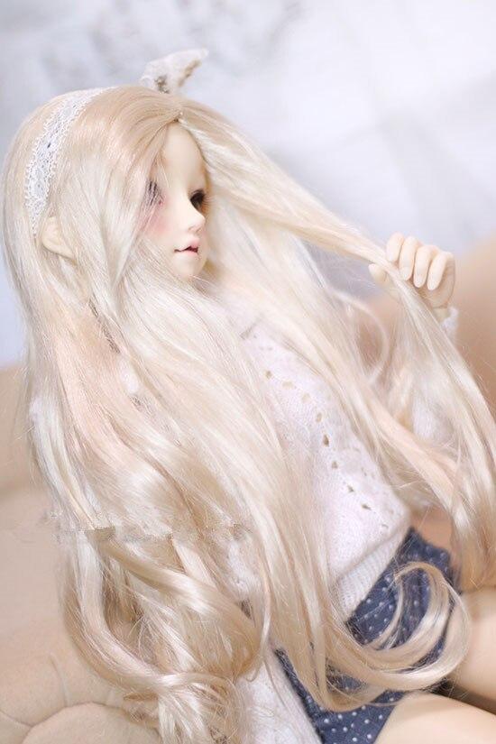 Новый мохеровый длинный светло золотой цвет, парики для кукол 1/6 1/4/1/3, аксессуары для кукол BJD