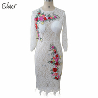 White Short Lace Evening Dresses Sheath Embroidery Flowers With Sleeves Knee Length Mother Of The Bride