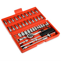 46pcs 1/4 Inch DR Sockets Ratchet Wrench Set Combobination Tools Kit for Car Repairing Auto Repair Tools Hand Steel Matal Tool