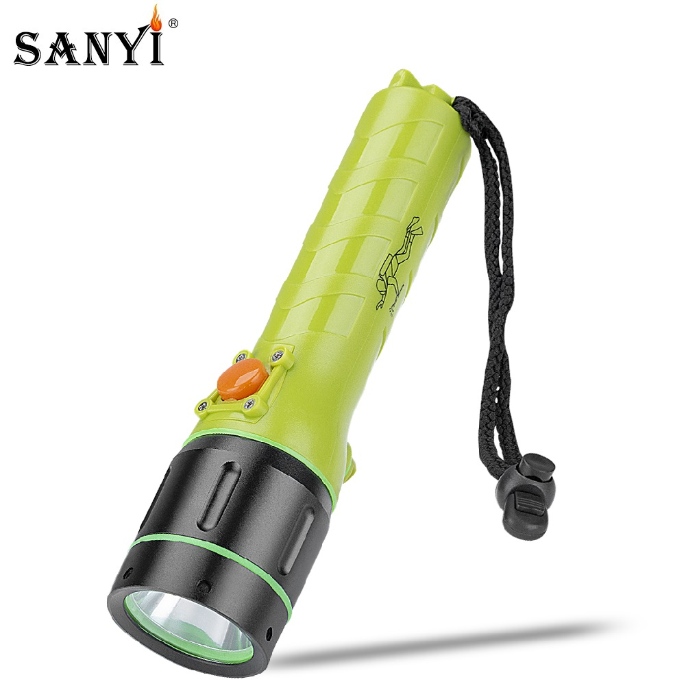 Sanyi XML T6 LED Underwater Diving Flashlight Scuba Dive Torch Rechargeable Lighting 2 Mode Flash Light Portable Hunting Lantern scuba dive light
