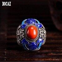 Старый Пекин Филигрань инкрустированные перегородчатой ремесло кольцо из стерлингового серебра 925 Дамы Винтаж кольцо