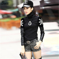 2014 Winter New Fashion Cashmere Sweater Women Casual Slim Sexy Black Turtleneck Long Pullover Diamante Leather