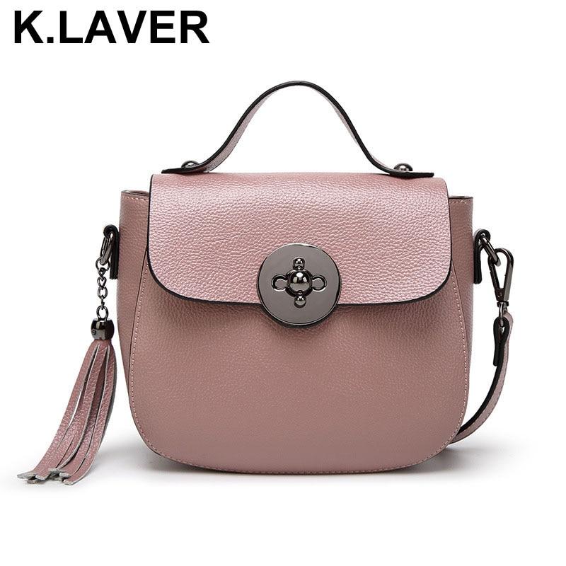 Genuine Leather Messenger Bag For Women Tassel Shoulder Bags Lady Casual Brand Tote Bag Handbags New Design Cross body Shell Bag