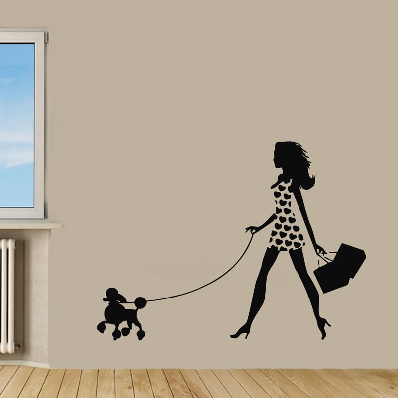 ZOOYOO Girl Walking With Poodle Wall Decals Pet Dog Wall Sticker ...