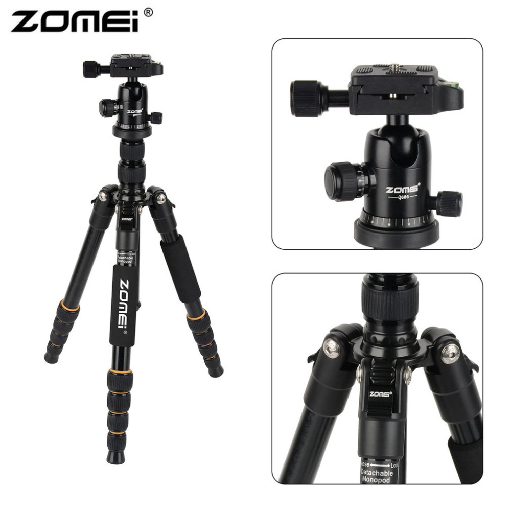 Zomei Professional Camera Tripod Lightweight Portable Travel Aluminum Monopod With 360 Degree Ball Head For DSLR Camera Tripods new professional portable aluminum tripod for dslr camera camcorder travel tripod stand removable monopod with ball head