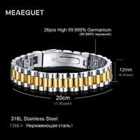 Meaeguet Energy Health Bracelet 26pcs 99.999% High Pure Germanium Bracelet Stainless Steel Therapy Bracelet for Women Men Gift