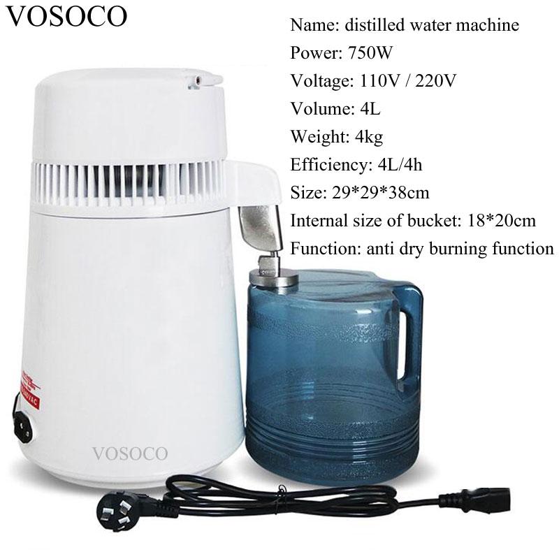 Best Home pure Water Distiller Filter machine distillation Purifier equipment for sale Distilled water machine 750W 4L/4h