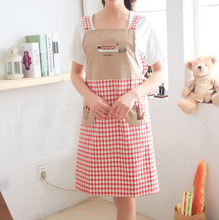 021047  Embroidery sleeveless shoulder belt type household apron cute fashionable anti-fouling prevent oil apron