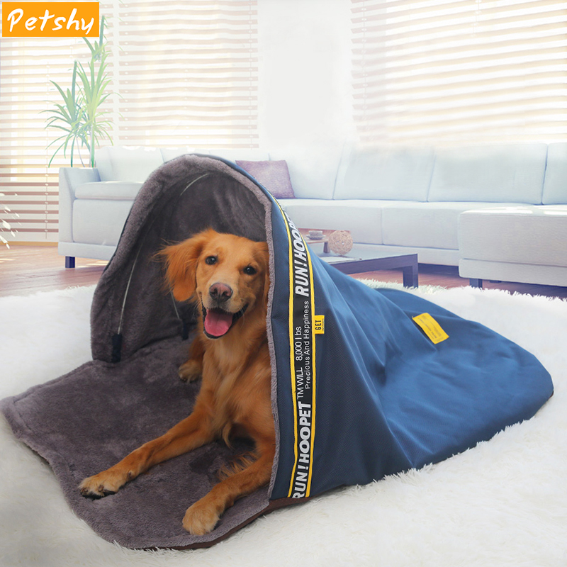 Petshy Dog Sleeping Bags House Pet Tent Cat Bed Nest Warm Small Large Dogs Kennel Cave Cozy Soft Blanket Cushion