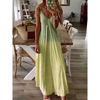 Solid color v neck dress women Spaghetti strap draped summer beach dress 2019 Casual long maxi dresses robe femme vestidos mujer