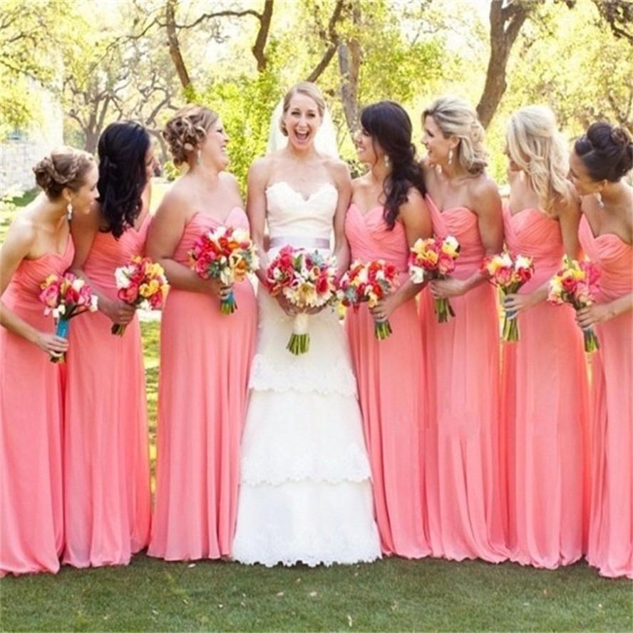 Largos Vestidos de Dama de Color Coral Vestidos de Dama de Luz Sexy ...