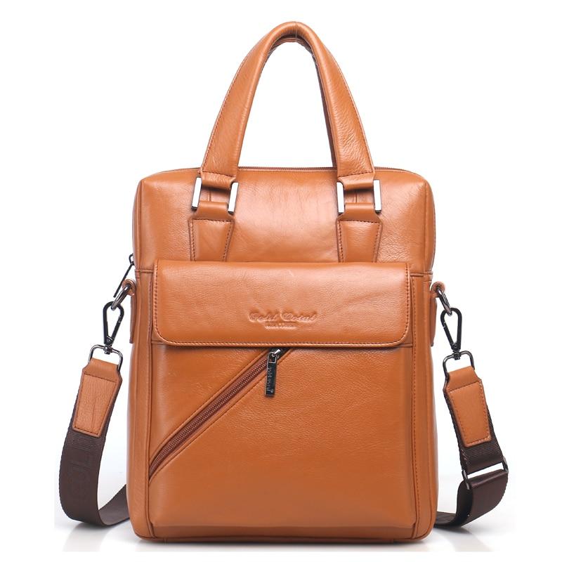 Genuine Leather Men's Briefcase Tote Messenger Shoulder Bag Travel Laptop bags for men Document Business Briefcase Male Handbags