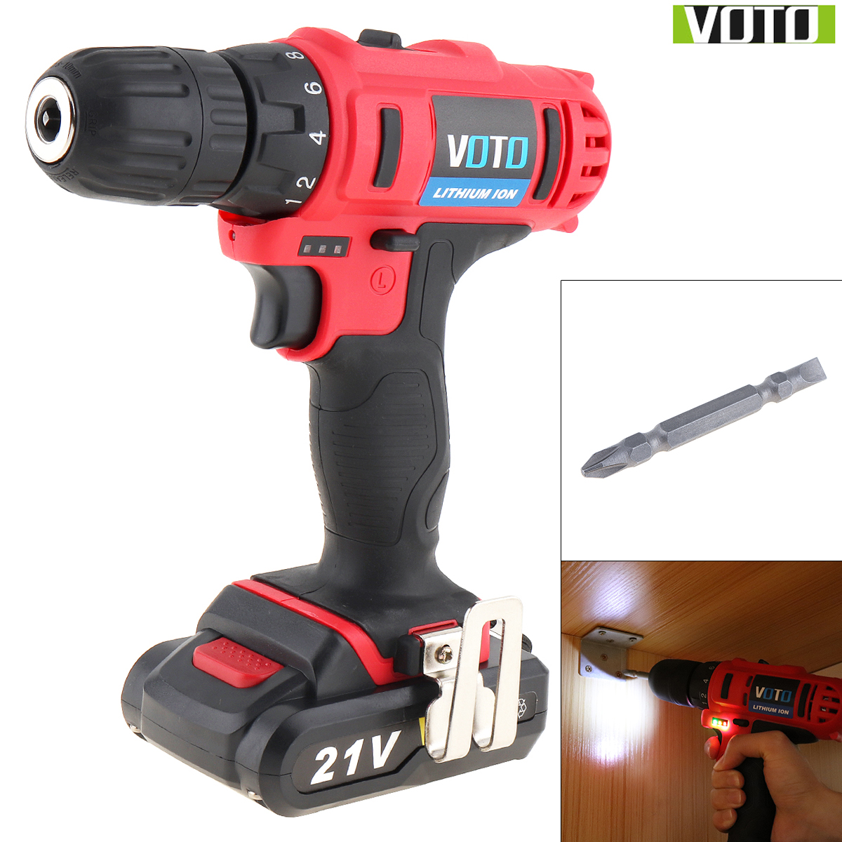 VOTO AC 100 240V Cordless 21V Two speed Electric Screwdriver Drill with Max Lithium Battery and