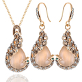 Fashion hot peacock necklace set imitation cat eye stone sweater chain bridal jewelry set necklace earrings WXL080