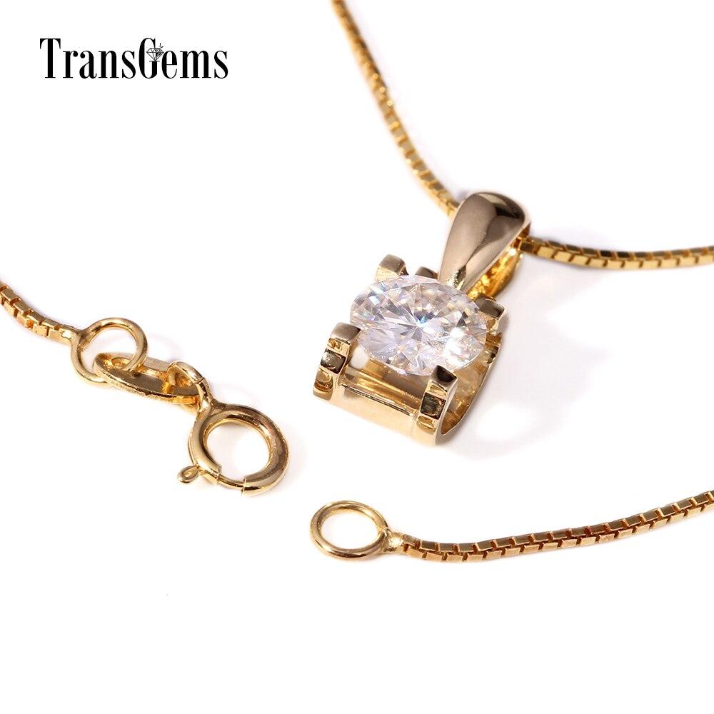 TransGems 18 Karat Gelbgold 1 Karat 6,5 mm Labor Moissanite Diamant - Edlen Schmuck - Foto 2