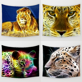 Comwarm 3D Light Coloured Drawing Leopard Pattern Durable Polyester Tapestry Wall Hanging Mural Modern Life living Home Decor