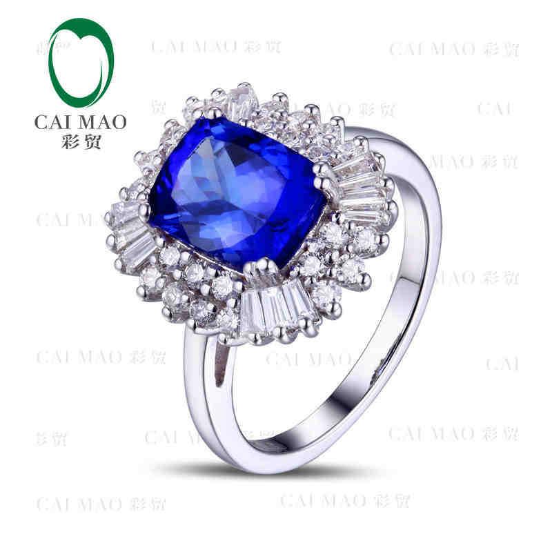 купить CaiMao 18KT/750 White Gold 2.53 ct Natural IF Blue Tanzanite AAA 0.98 ct Full Cut Diamond Engagement Gemstone Ring Jewelry по цене 73067.39 рублей