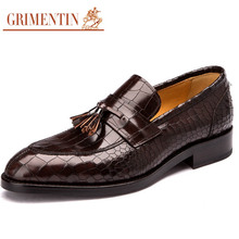 GRIMENTIN Fashion vintage brand crocodile mens dress sheos genuine leather with tassel customized handmade male shoes men flats