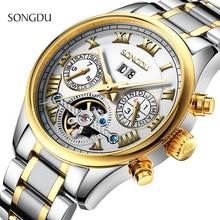 Мужчины часы люксовый бренд Автоматические Часы Механические Часы Хронограф Световой Сталь relogios masculinos военная наручные часы