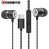 FANBIYA Super Bass Type C Earphone With Mic Music Handsfree In Ear Type C Earbuds Noise