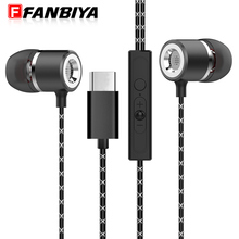 FANBIYA Super Bass Type c Earphone with Mic Music Handsfree in ear Type-c Earbuds Noise Canceling Phone for LeEco Le 2/ Max/ Pro