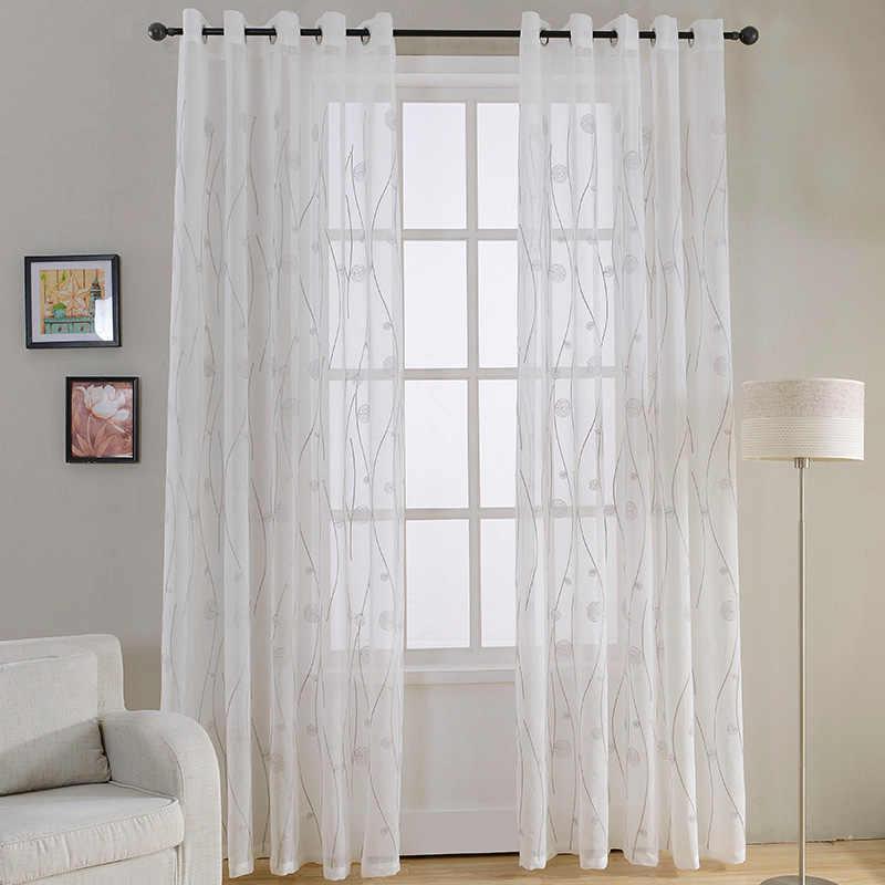 Topo finel natural bordado sheer cortinas para sala de estar quarto elegante fio bordado branco voile painel