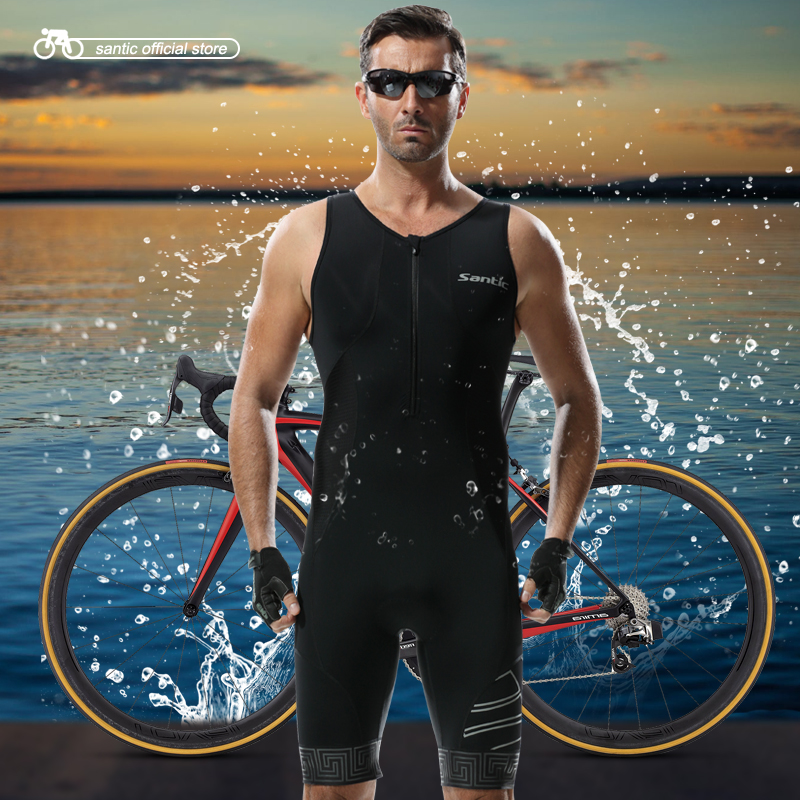 Santic Triathlon Clothing 4D Pad Quick Dry Cycling Skinsuit for Swimming Running Cycling M5C03007H santic black triathlon clothing men
