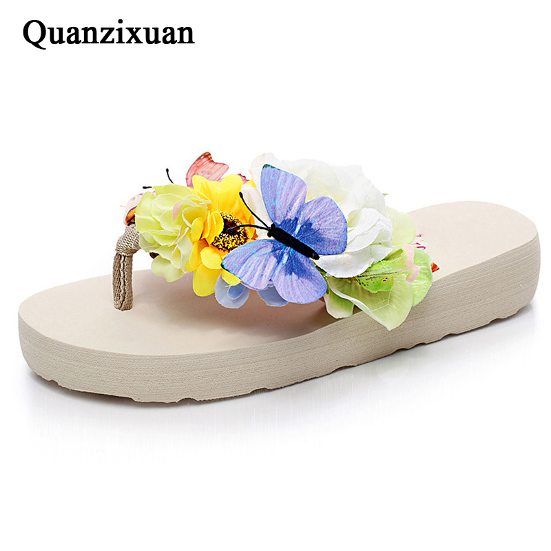 Quanzixuan Summer Women Slippers Flower Women Shoes Baach Flip Flops Casual Home Slippers Fashion Butterfly Flat Shoes Woman lanshulan bling glitters slippers 2017 summer flip flops platform shoes woman creepers slip on flats casual wedges gold