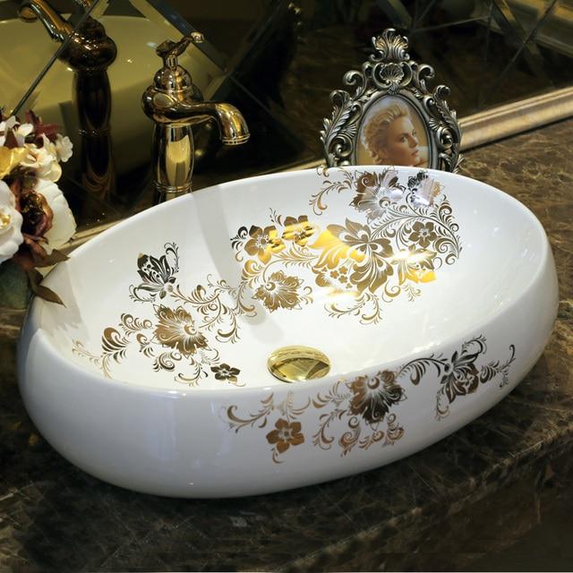 Oval Jingdezhen Bathroom Ceramic Sink Wash Basin Counter Top Wash Basin Bathroom  Sinks Oval Vanity Sink