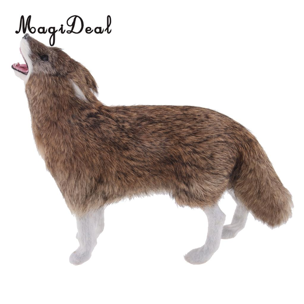 Realistic Grey Howling Wolf Simulation Model Figure Kids Toy Home Decor Gift