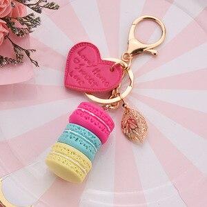 Women New Macaron Cake keychain PU love alloy leaf Key Chain Charm Bag pendant Key Ring Best Party Gift Jewelry K3006