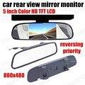 5 Дюймов TFT LCD 800*480 Автомобилей Монитор заднего вида парковка Зеркало Монитор для Резервного Копирования камеры заднего вида Система Парковки вспять приоритет