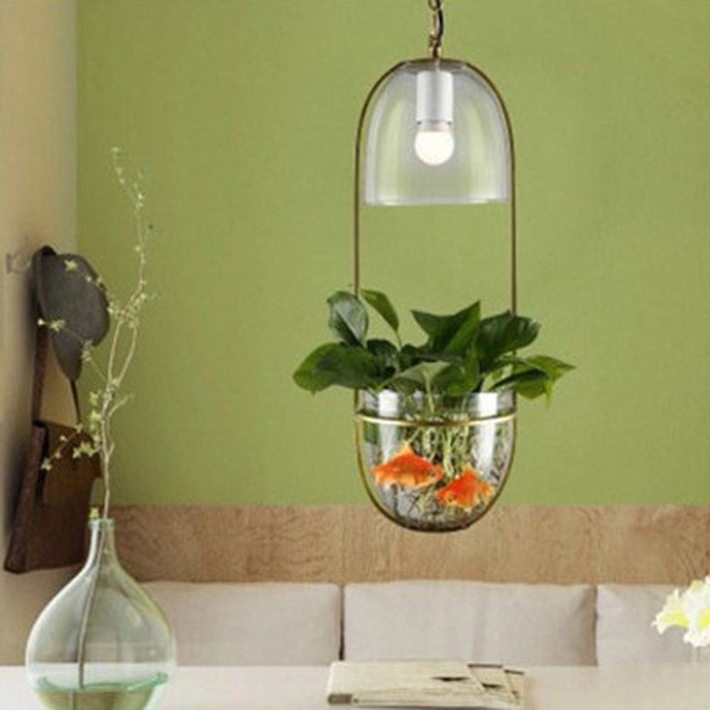 Modern Minimalist Garden Ecological Restaurant Creative Cafe Bedside Water Glass Pendant Lights Plants Hanging Lamp rudi hilmanto local ecological knowledge