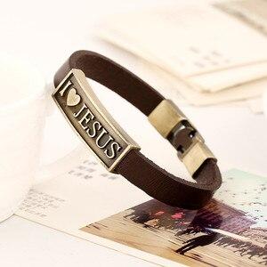 Image 5 - Zorcvens Vintage Brief Jesus Armband Mannelijke Gebed Christian Armband Leer Vrouwen Sieraden