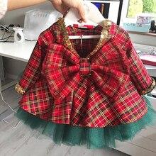 От 1 до 6 лет; рождественское платье принцессы для маленьких девочек; Элегантное нарядное платье с блестками для торжественных мероприятий; рождественское платье с бантом для малышей; Vestidos