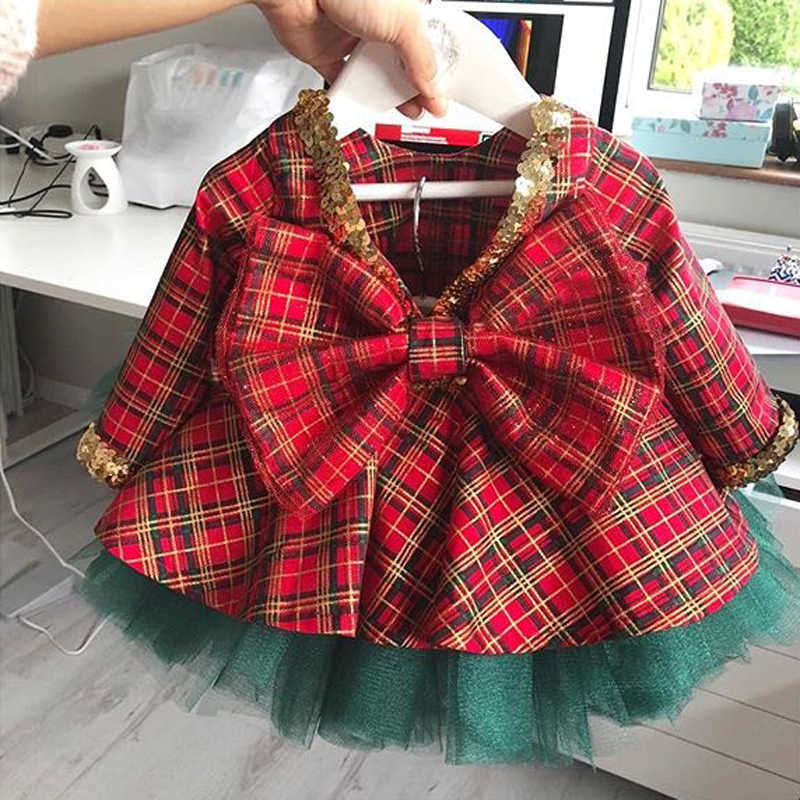 1-6T Christmas kids Baby Girl Princess Dress Elegant Formal Party Pageant Cute sequin Dress Xmas Infant Bowknot check Vestidos