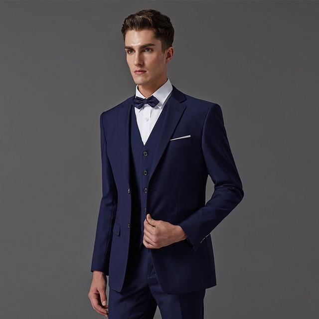 Custom Made Dark Blue Men Suit Tailor Bespoke Light Navy Wedding