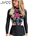 JYSS New arrival Fashion women Long sleeves Playsuits Sexy Floral Print midriff jumpsuits Beach Regular women Bodysuits 80836