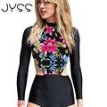 JYSS chegada de Nova Moda mulheres mangas Compridas Playsuits Sexy Floral Imprimir midriff macacões Praia Regulares mulheres Bodysuits 80836