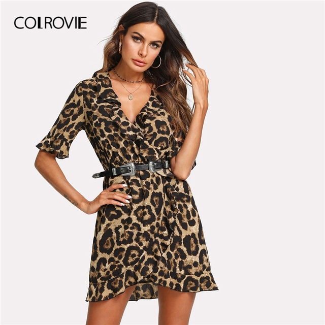 COLROVIE Leopard V Neck Short Sleeve Women Dress 2019 Streetwear Ruffle  Surplice Wrap Summer Dress Night 797086e7ce90