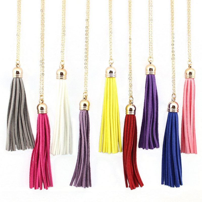 ZWPON Newest Hot Selling Bohemian Fashion Red & Blue & Yellow Leather Velvet Tassel Long Necklace for Women Velvet Jewelry