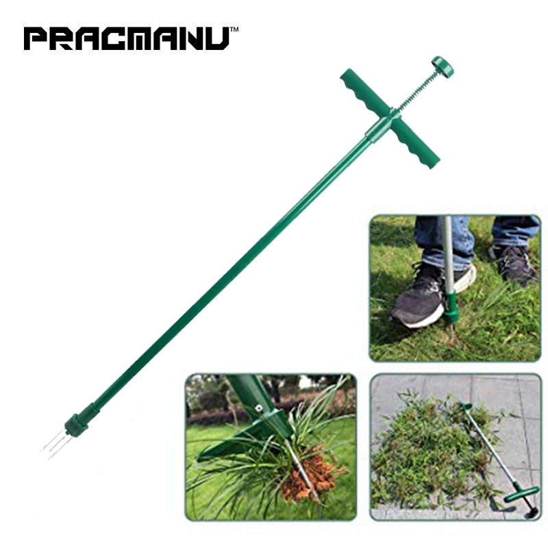 PRACMANU Stand Up Weeder And Weed Puller Stand Up Manual Weeder Hand Tool With 3 Claws Stainless Steel Weed Puller