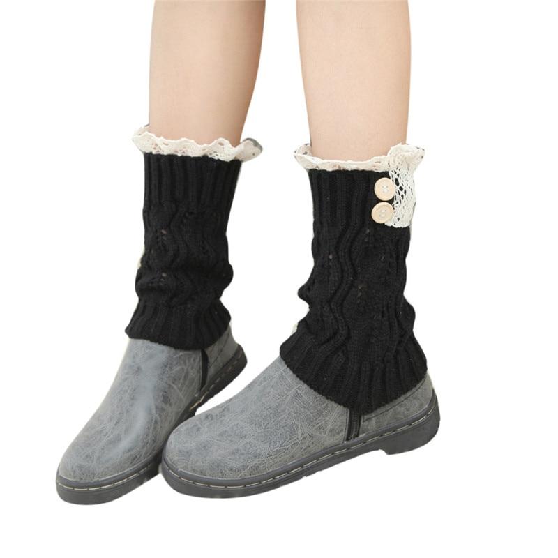 3055 corto para mujer Encaje ganchillo pierna piernas botas ...
