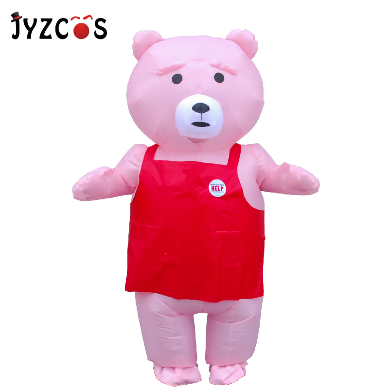 JYZCOS Adult Pink Teddy Bear Inflatable Costume Halloween Party Animal Costume Purim Christmas Carnival Cosplay Costume