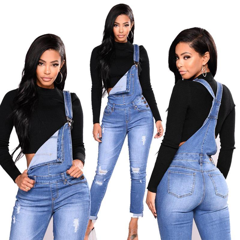 Blue Hole Rippped Jeans Women Jumpsuits Rompers Adjustable Strap Button Pockets Overalls Pencil Long Pant Femme Plus Size 3xl