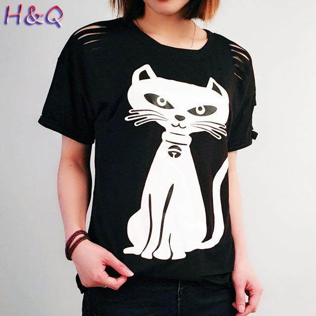 HQ Estilo das Mulheres Novas do Verão 2017 Casual Camisetas Gatos Impresso Moda Solto Manga Curta Tops Oco Legal Camisetas Topo XHH04762