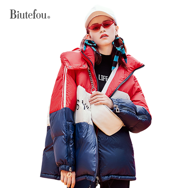 2018 Winter spliced multicolor   Down     Coats   women warm letter print hooded   Down     Coats
