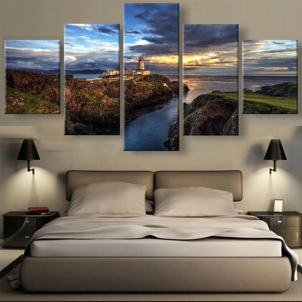 US $9 35 45% OFF|HD 5 Piece Ireland Steep Cliff Lighthouse Sunset Seascape  Landscape Canvas Wall Art Home Decor For Living Room Painting-in Painting &